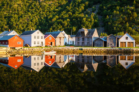 old wooden houses in Laerdalsoyri, Norway