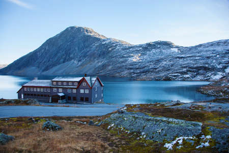 a hotel on Djupvatnet lake in Norway Stock Photo