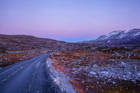 road at Gamle Strynefjellsvegen, National tourist road, Norway Stock Photo