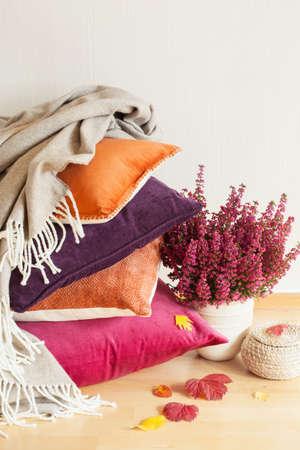 다채로운 쿠션 아늑한 가정 가을 기분 꽃 잎을 던져