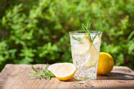refreshing lemonade drink with rosemary in glasses Stok Fotoğraf - 84498320