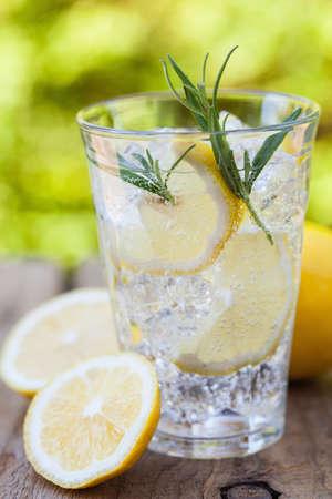 Verfrissende limonade drankje met rozemarijn in glazen Stockfoto - 84549902