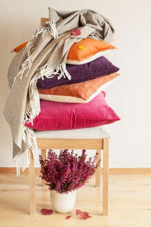 kleurrijke kussens gooien gezellig huis herfst stemming bloemblad