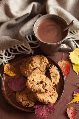 hot chocolate warming drink cozy autumn leaves cookies