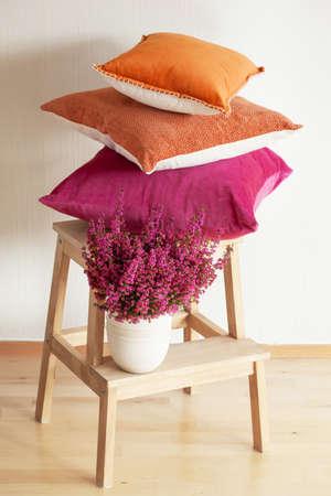 colorful cushions cozy home autumn mood flower Фото со стока
