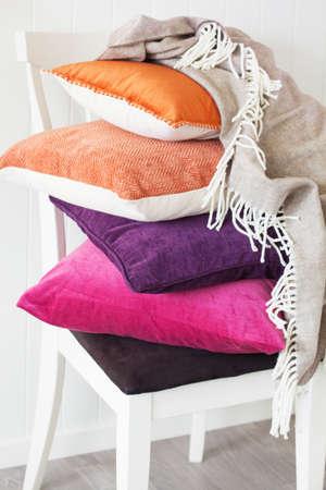 colorful cushions throw cozy home autumn mood