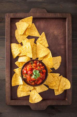 tex mex: mexican salsa dip and nachos tortilla chips Stock Photo