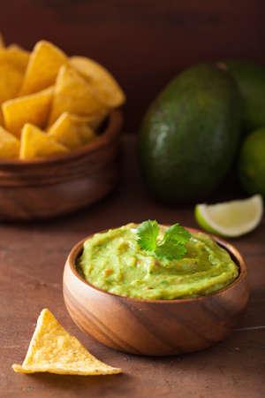 メキシコ ワカモーレのディップとナチョス トルティーヤ チップ 写真素材