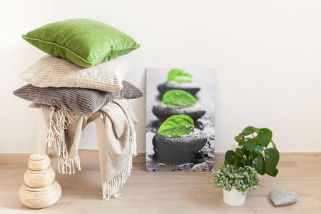 gray and green cushions cozy home interior 版權商用圖片