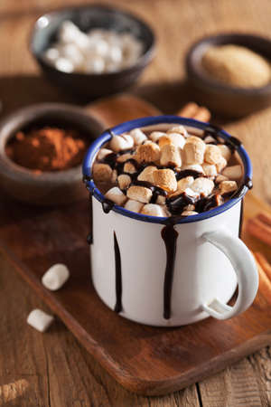 smores hot chocolate mini marshmallows cinnamon winter drink Stock Photo