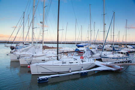 Winter view of a marina in Trondheim Grilstad  Stock Photo