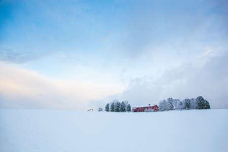 beautiful winter landscape snow farm house