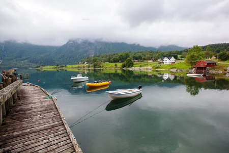 beautyful landscape lake and boat, Norway 写真素材