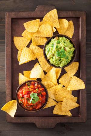 mexican guacamole and salsa dip, nachos tortilla chips Stock Photo