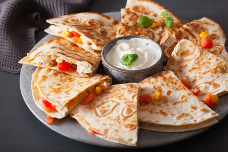 mexican quesadilla with chicken tomato corn cheese Stock Photo
