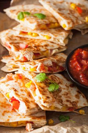 mexican quesadilla with chicken tomato corn cheese Stock Photo