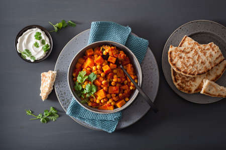 sweet potato and chickpea curry with naan bread