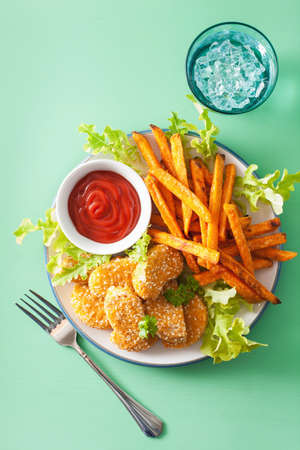 vegan soy nuggets and sweet potato fries healthy snack