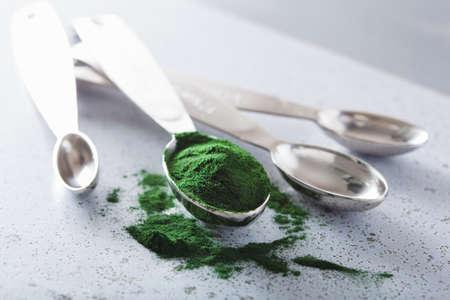 spirulina powder healthy dietary supplement Reklamní fotografie