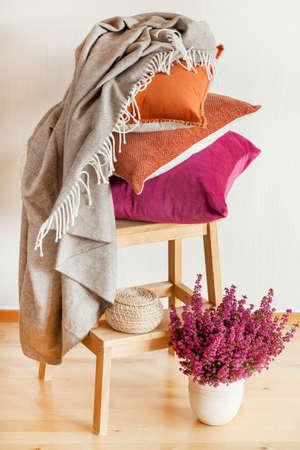colorful cushions throw cozy home autumn mood flower Фото со стока