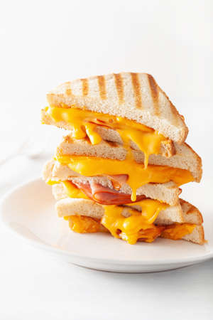 grilled ham and cheese sandwich 스톡 콘텐츠