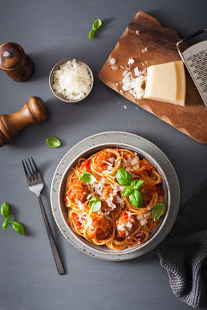 spaghetti with meatballs and tomato sauce, italian pasta Stock fotó - 113768828