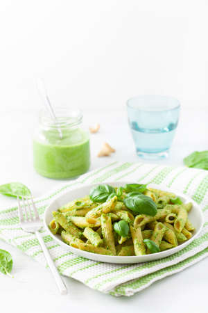 Penne pasta with spinach basil pesto sauce 免版税图像