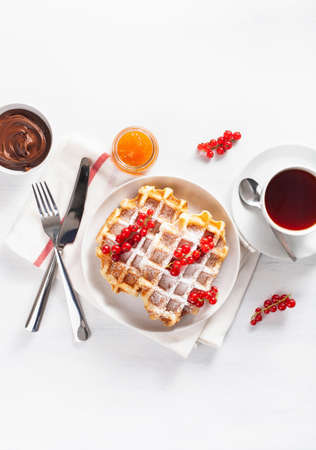 breakfast waffle with berry, jam, chocolate spread and tea. Top view Banque d'images - 123293814