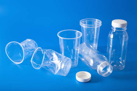 Single use plastic bottles, cup. concept of recycling plastic, plastic waste Banco de Imagens