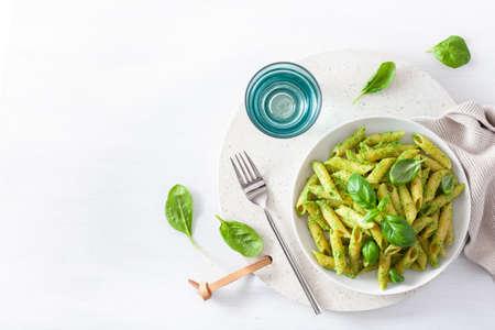 penne al pesto di spinaci e basilico