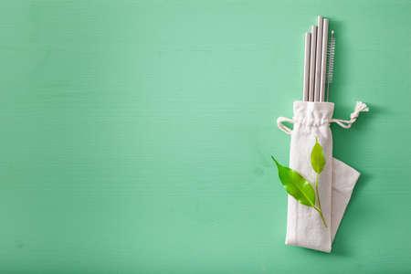 eco-friendly reusable metal drinking straw. zero waste concept Stock Photo
