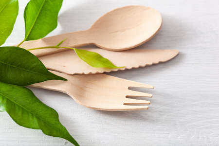 eco-friendly wooden cutlery. plastic free concept