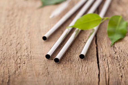 eco-friendly reusable metal drinking straw. zero waste concept Stockfoto