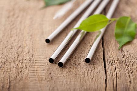 eco-friendly reusable metal drinking straw. zero waste concept Banco de Imagens