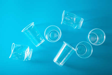 single use plastic cup. concept of recycling plastic, plastic waste