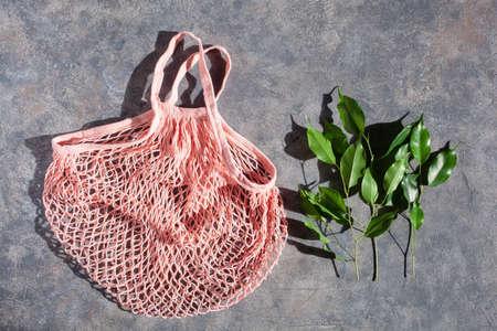 reusable mesh cotton shopping bag, plastic free zero waste concept