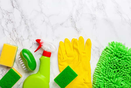 cleaning products household chemicals spray brush sponge glove Stok Fotoğraf