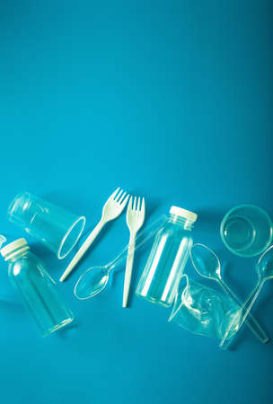 single use plastic bottles, cups, forks, spoons. concept of recycling plastic, plastic waste Stock fotó