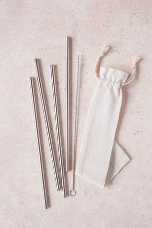 eco-friendly reusable metal drinking straw. zero waste concept Stock fotó