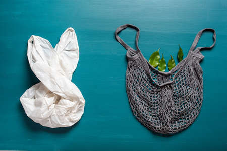 plastic and reusable mesh cotton shopping bag, plastic free zero waste concept