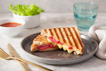 grilled salami and cheese sandwich Stock fotó