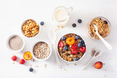 healthy granola for breakfast with berry fruit nut, plant milk