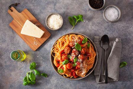 spaghetti with meatballs and tomato sauce, italian pasta