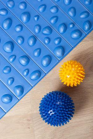 massage rubber balls, mat and roller for self massage and reflexology