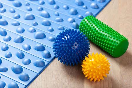 massage rubber balls, balance cushion, mat and roller for self massage and reflexology