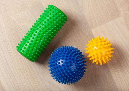 massage rubber balls and roller for self massage and reflexology