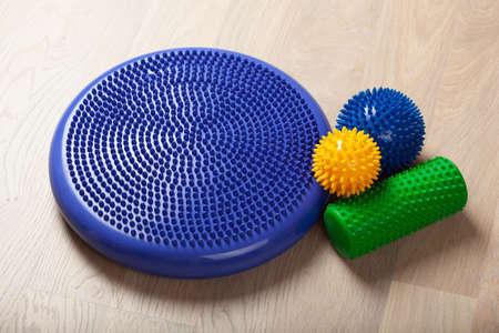 massage rubber balls, balance cushion and roller for self massage and reflexology