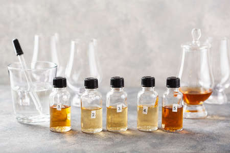 tasting whisky bottles and glasses or spirit brandy cognac. tasting at home Reklamní fotografie