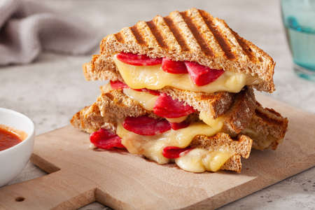 grilled salami and cheese sandwich Reklamní fotografie