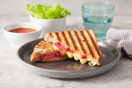 grilled salami and cheese sandwich Standard-Bild